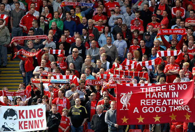 LIVERPOOL, ENGLAND - MAY 01:   Liverpool fans on the Kop display banners in support of their manager Kenny Dalglish the Barclays Premier League match between Liverpool  and Newcastle United at Anfield on May 1, 2011 in Liverpool, England.  (Photo by Clive