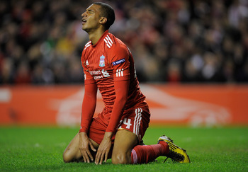 LIVERPOOL, ENGLAND - MARCH 17:  David Ngog of Liverpool is reacts after missing a goalscoring chance during the UEFA Europa League Round of 16 second leg match between Liverpool and SC Braga at Anfield on March 17, 2011 in Liverpool, England.  (Photo by M