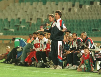 18 Jan 1996:  Manager of Egypt Ruud Krol of Holland gives out orders to his players during their 2-1 defeat by Cameroon in the African Nations Cup at the FNB Stadium in Johannesburg. Mandatory Credit: Gary M. Prior/ALLSPORT