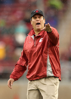 PALO ALTO, CA - OCTOBER 23:  Head coach Paul Wulff of the Washington State Cougars argues with t he referees during their game against the Stanford Cardinal at Stanford Stadium on October 23, 2010 in Palo Alto, California.  (Photo by Ezra Shaw/Getty Image