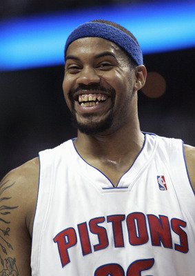 UBURN HILLS, MI - April 26: Rasheed Wallace #36 of the Detroit Pistons smiles in game two of the Eastern Conference Quarterfinals against the Milwaukee Bucks during the 2006 NBA Playoffs on April 26, 2006 at The Palace of Auburn Hills in Auburn Hills, Mic