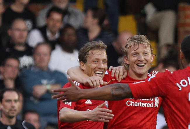 LONDON, ENGLAND - MAY 09:  Dirk Kuyt of Liverpool celebrates scoring their third goal during the Barclays Premier League match between Fulham and Liverpool at Craven Cottage on May 9, 2011 in London, England.  (Photo by Scott Heavey/Getty Images)