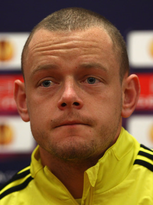 LIVERPOOL, ENGLAND - MARCH 16: Jay Spearing of Liverpool listens to a question during a press conference ahead of their UEFA Europa League Round of 16 second leg match against Braga at Melwood Training Ground on March 16, 2010 in Liverpool, England.  (Pho