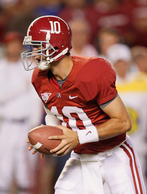 TUSCALOOSA, AL - OCTOBER 02:  Quarterback A.J. McCarron #10 of the Alabama Crimson Tide against the Florida Gators at Bryant-Denny Stadium on October 2, 2010 in Tuscaloosa, Alabama.  (Photo by Kevin C. Cox/Getty Images)