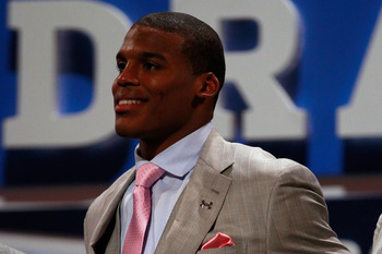 NEW YORK, NY - APRIL 28:  Draft prospect Cam Newton looks on during the 2011 NFL Draft at Radio City Music Hall on April 28, 2011 in New York City. Newton was selected #1 overall by the Carolina Panthers. (Photo by Chris Trotman/Getty Images)