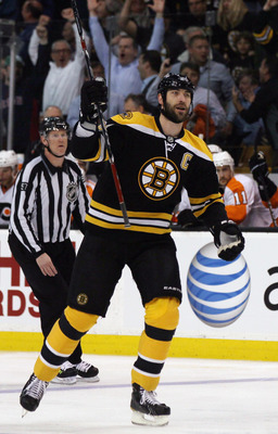 BOSTON, MA - MAY 04: Zdeno Chara #33 of the Boston Bruins celebrates teammate David Krejci's goal in the first period against the Philadelphia Flyers  in Game Three of the Eastern Conference Semifinals during the 2011 NHL Stanley Cup Playoffs at TD Garden