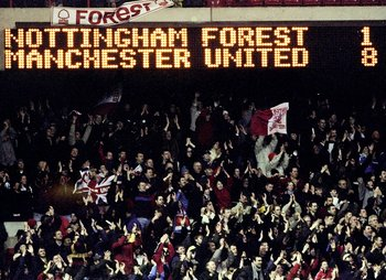 6 Feb 1999:  The scoreboard tells the story as Manchester United  secure a record away win at Nottingham Forest in the FA Carling Premiership match at the City Ground in Nottingham, England.  \ Mandatory Credit: Gary M Prior/Allsport
