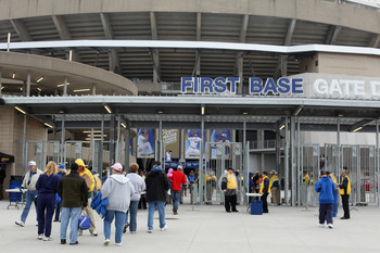 KANSAS CITY, MO - MARCH 31:  Fans enter the stadium prior to the start of the opening day game between the Los Angeles Angels of Anaheim and the Kansas City Royals at Kauffman Stadium on March 31, 2011 in Kansas City, Missouri.  (Photo by Jamie Squire/Get
