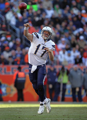 DENVER - JANUARY 02:  Quarterback Philip Rivers #17 of the San Diego Chargers delivers a pass against the Denver Broncos at INVESCO Field at Mile High on January 2, 2011 in Denver, Colorado. The Chargers defeated the Broncos 33-28.  (Photo by Doug Pensing