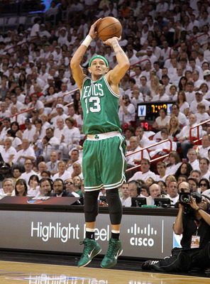 MIAMI, FL - MAY 01:  Delonte West #13  of the Boston Celtics shoots  during game one of the Eastern Conference Semifinals of the 2011 NBA Playoffs against the Miami Heat at American Airlines Arena on May 1, 2011 in Miami, Florida. NOTE TO USER: User expre