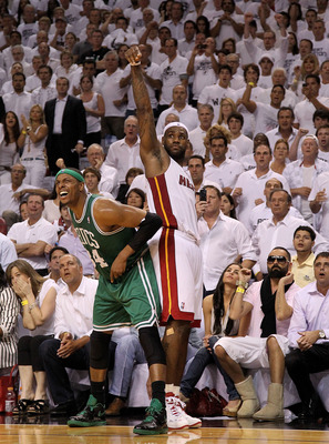 MIAMI, FL - MAY 11:  LeBron James #6 of the Miami Heat hits a late 3 pointer over Paul Pierce #34 of the Boston Celtics during Game Five of the Eastern Conference Semifinals of the 2011 NBA Playoffs at American Airlines Arena on May 11, 2011 in Miami, Flo
