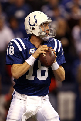 INDIANAPOLIS, IN - JANUARY 08:  Quarterback Peyton Manning #18 of the Indianapolis Colts looks to pass against the New York Jets during their 2011 AFC wild card playoff game at Lucas Oil Stadium on January 8, 2011 in Indianapolis, Indiana. The Jets won 17