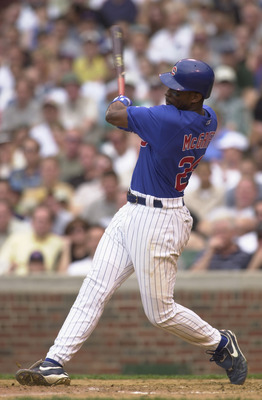CHICAGO - MAY 31:  First baseman Fred McGriff #29 of the Chicago Cubs swings the bat during the MLB game against the Houston Astros at Wrigley Field in Chicago, Illinois on May 31, 2002. The Astros defeated the Cubs 4-1. (Photo by Jonathan Daniel/Getty Im