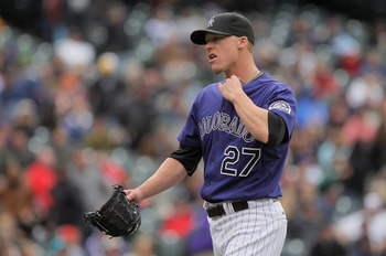 DENVER, CO - MAY 01:  Relief pitcher Matt Lindstrom #27 of the Colorado Rockies works against the Pittsburgh Pirates in the seventh inning at Coors Field on May 1, 2011 in Denver, Colorado. The Pirates defeated the Rockies 8-4.  (Photo by Doug Pensinger/G