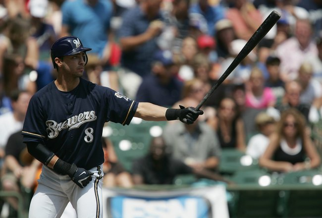 MILWAUKEE - JULY 22:  Ryan Braun #8 of the Milwaukee Brewers bats against the San Francisco Giants on July 22, 2007 at Miller Park in Milwaukee, Wisconsin. The Brewers won 7-5. (Photo by Jonathan Daniel/Getty Images)