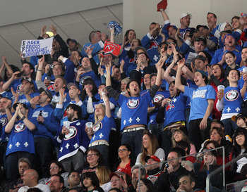 NEWARK, NJ - APRIL 10: Members of the 'Nordiques Nation' attend the game between the New Jersey Devils and the Boston Bruins at the Prudential Center on April 10, 2011 in Newark, New Jersey.  (Photo by Bruce Bennett/Getty Images)
