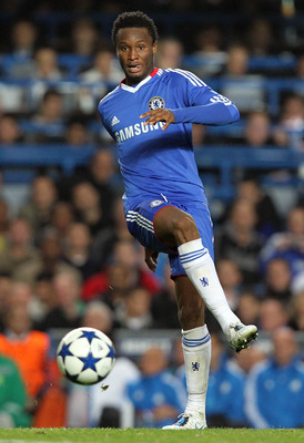 LONDON, ENGLAND - SEPTEMBER 28:  John Obi Mikel of Chelsea in action during the UEFA Champions League Group F match between Chelsea and Marseille at Stamford Bridge on September 28, 2010 in London, England.  (Photo by Jan Kruger/Getty Images)