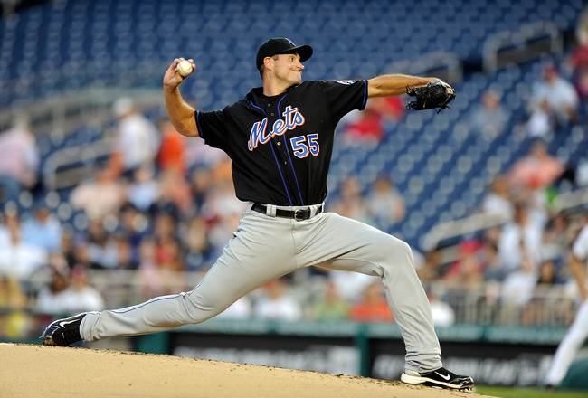 WASHINGTON, DC - APRIL 26:  Chris Young #55 of the New York Mets pitches against the Washington Nationals at Nationals Park on April 26, 2011 in Washington, DC.  (Photo by Greg Fiume/Getty Images)