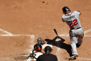 SAN FRANCISCO, CA - APRIL 24:  Jason Heyward #22 of the Atlanta Braves hits a three home run in the seventh inning against the San Francisco Giants at AT&T Park on April 24, 2011 in San Francisco, California.  (Photo by Ezra Shaw/Getty Images)