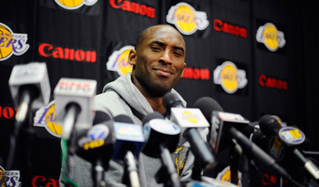 EL SEGUNDO, CA - MAY 11:  Kobe Bryant #24 of the Los Angeles Lakers speaks during a news conference at the Lakers training facility on May 11, 2011 in El Segundo, California. The Lakers were swept out of their best of seven series with the Dallas Maverick