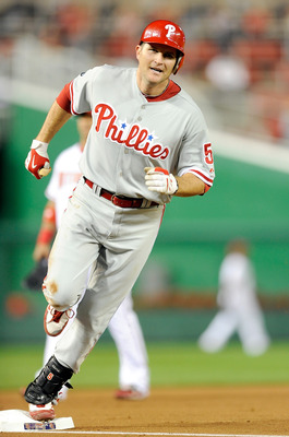 WASHINGTON - SEPTEMBER 29:  Mike Sweeney #5 of the Philadelphia Phillies rounds the bases after hitting a home run in the second inning against the Washington Nationals at Nationals Park on September 29, 2010 in Washington, DC.  (Photo by Greg Fiume/Getty