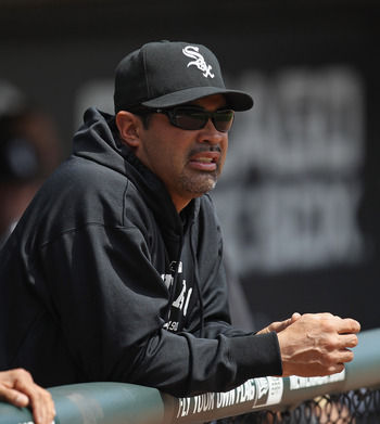 CHICAGO, IL - MAY 01: Manager Ozzie Guillen #13 of the Chicago White Sox returned to the bench after serving a two game suspension for a game against the Baltimore Orioles at U.S. Cellular Field on May 1, 2011 in Chicago, Illinois. The Orioles defeated th