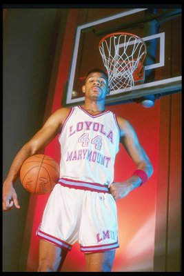 1989:  Forward Hank Gathers of the Loyola-Marymount Lions poses for a picture while holding a basketball. Mandatory Credit: Tim de Frisco  /Allsport