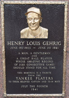 NEW YORK - MAY 02:  The plaque of Lou Gehrig is seen in Monument Park at Yankee Stadium prior to game between the New York Yankees and the Chicago White Sox on May 2, 2010 in the Bronx borough of New York City. The Yankees defeated the White Sox 12-3.  (P
