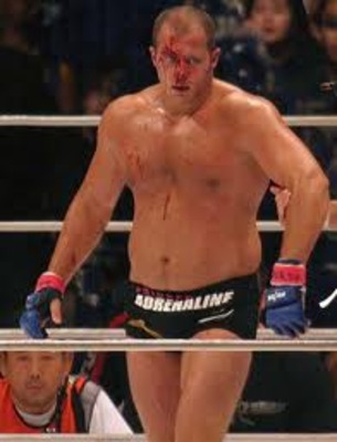A bloodied Fedor Emelianenko in victory