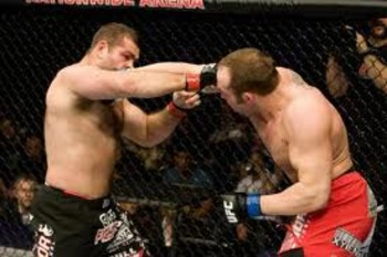 Shane Carwin delivering a vicious right to the chin of Gabriel Gonzaga