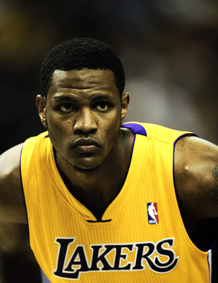 BARCELONA, SPAIN - OCTOBER 07:  Devin Ebanks #3 of the Los Angeles Lakers looks on during the NBA Europe Live match between Los Angeles Lakers and Regal FC Barcelona at the at Palau Blaugrana on October 7, 2010 in Barcelona, Spain.  (Photo by David Ramos/