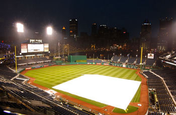 PITTSBURGH - MAY 12:  Lightning strikes near PNC Park after a rain delay was issued in the third inning between the Pittsburgh Pirates and the Los Angeles Dodgers on May 12, 2011 at PNC Park in Pittsburgh, Pennsylvania.  (Photo by Jared Wickerham/Getty Im