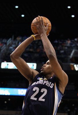 PHOENIX - DECEMBER 08:  Rudy Gay #22 of the Memphis Grizzlies puts up a shot against the Phoenix Suns during the NBA game at US Airways Center on December 8, 2010 in Phoenix, Arizona. The Grizzlies defeated the Suns 104-98 in overtime.  NOTE TO USER: User