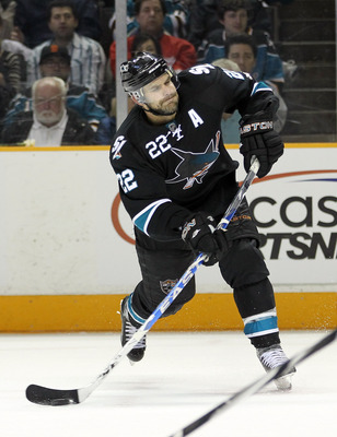 SAN JOSE, CA - MAY 08:  Dan Boyle #22 of the San Jose Sharks in action against the Detroit Red Wings in Game Five of the Western Conference Semifinals during the 2011 NHL Stanley Cup Playoffs at HP Pavilion on May 8, 2011 in San Jose, California.  (Photo