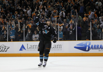 SAN JOSE, CA - MAY 12:  Joe Thornton #19 of the San Jose Sharks celebrates after they beat the Detroit Red Wings in Game Seven of the Western Conference Semifinals during the 2011 NHL Stanley Cup Playoffs at HP Pavilion on May 12, 2011 in San Jose, Califo