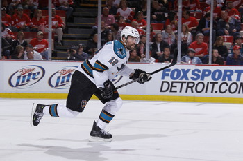 DETROIT - MAY 6: Patrick Marleau #12 of the San Jose Sharks skates against the Detroit Red Wings in Game Four of the Western Conference Semifinals during the 2011 NHL Stanley Cup Playoffs on May 6, 2011 at Joe Louis Arena in Detroit, Michigan. (Photo by G