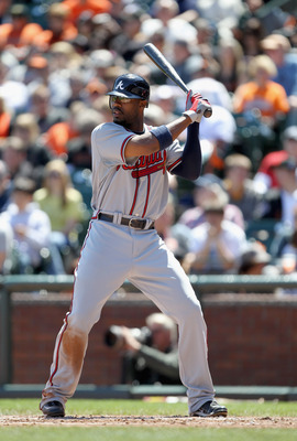 SAN FRANCISCO, CA - APRIL 24:  Jason Heyward #22 of the Atlanta Braves in action against the San Francisco Giants at AT&T Park on April 24, 2011 in San Francisco, California.  (Photo by Ezra Shaw/Getty Images)