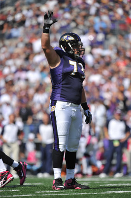 BALTIMORE, MD - OCTOBER 10: Marshal Yanda #73 of the Baltimore Ravens waves to the crowd during the game against the Denver Broncos at M&T Bank Stadium on October 10, 2010 in Baltimore, Maryland. Players wore pink in recognition of Breast Cancer Awareness