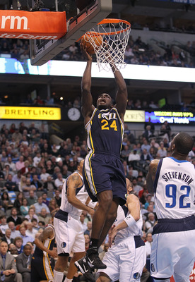 DALLAS, TX - FEBRUARY 23:  Forward Paul Millsap #24 of the Utah Jazz takes a shot against the Dallas Mavericks at American Airlines Center on February 23, 2011 in Dallas, Texas.  NOTE TO USER: User expressly acknowledges and agrees that, by downloading an