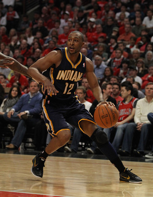 CHICAGO, IL - APRIL 16: A.J. Price #12 of the Indiana Pacers moves against the Chicago Bulls in Game One of the Eastern Conference Quarterfinals in the 2011 NBA Playoffs at the United Center on April 16, 2011 in Chicago, Illinois. The Bulls defeated the P