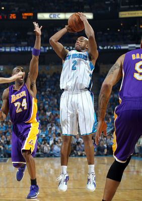 NEW ORLEANS, LA - APRIL 28:  Guard Jarrett Jack #2 of the New Orleans Hornets takes a shot against Kobe Bryant #24 of the Los Angeles Lakers in Game Six of the Western Conference Quarterfinals in the 2011 NBA Playoffs on April 28, 2011 at New Orleans Aren