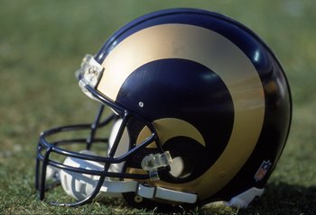 3 Dec 2000:  A view of the St. Louis Rams helmet after the game against the Carolina Panthers at the Ericsson Stadium in Charlotte, North Carolina.  The Panthers defeated the Rams 16-3.Mandatory Credit: Scott Halleran  /Allsport