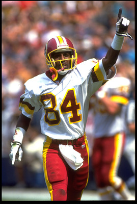 13 SEP 1992:  WASHINGTON REDSKINS WIDE RECEIVER GARY CLARK POINTS TO THE CROWD IN CELEBRATION DURING A 24-17 OVER THE ATLANTA FALCONS AT RFK STADIUM IN WASHINGTON D.C.