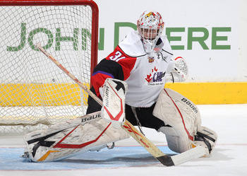 TORONTO, CAN - JANUARY 19:  Jordan Binnington #31 of Team Orr moves to make a save against Team Cherry in the 2011 Home Hardware Top Prospects game on January 19, 2011 at the Air Canada Centre in Toronto, Canada. Team Orr defeated Team Cherry 7-1. (Photo