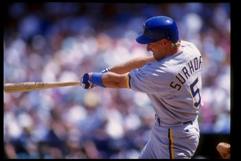 6 Apr 1993:  Infielder B. J. Surhoff of the Milwaukee Brewers swings the bat during a game against the California Angels at Anaheim Stadium in Anaheim, California. Mandatory Credit: Stephen Dunn  /Allsport