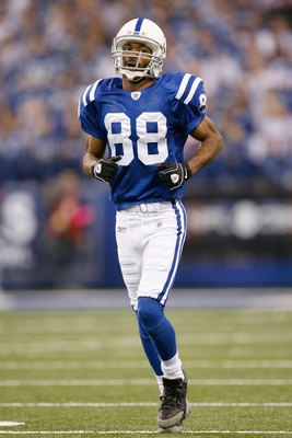 INDIANAPOLIS - DECEMBER 28:  Marvin Harrison #88 of the Indianapolis Colts jogs on the field during the game against the Tennessee Titans on December 28, 2008 at Lucas Oil Stadium in Indianapolis, Indiana. (Photo by: Jamie Squire/Getty Images)
