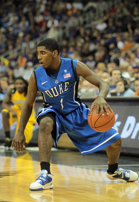 KANSAS CITY, MO - NOVEMBER 22:  Kyrie Irving #1 of the Duke Blue Devils in action during the CBE Classic game against the Marquette Golden Eagles on November 22, 2010 at the Sprint Center in Kansas City, Missouri.  (Photo by Jamie Squire/Getty Images)