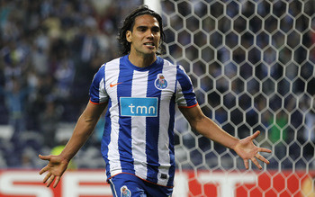 PORTO, PORTUGAL - APRIL 28:  Radamel Falcao of FC Porto celebrates after scoring his side third goal during the UEFA Europa League semi final first leg match between FC Porto and Villarreal at Estadio do Dragao on April 28, 2011 in Porto, Portugal.  (Phot