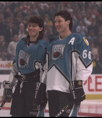 20 Jan 1996:  Mario Lemieux #66 and Jaromir Jagr #68 stand on the ice as members of the Eastern team for the NHL All Star game against the West at the FleetCenter in Boston, Massachusetts.  The East defeated the West 5-4.  Mandatory Credit:  Doug Pensinge