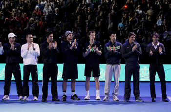 LONDON, ENGLAND - NOVEMBER 21:  (L-R) Jurgen Melzer of Austria, Mikhail Youzhny of Russia, Fernando Verdasco , Andy Roddick of the USA, Andy Murray of Great Britain, Novak Djokovic of Siberia, Roger Federer of Switzerland and Rafael Nadal of Spain attend